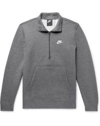 Nike - Sportswear Mélange Fleece-back Cotton-blend Half-zip Sweatshirt - Lyst