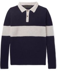 The Elder Statesman - Striped Knitted Cashmere Polo Shirt - Lyst