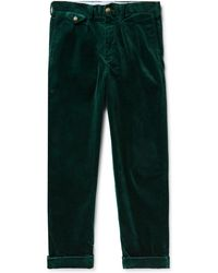 Polo Ralph Lauren - Wide-leg Pleated Stretch Cotton-corduroy Trousers - Lyst