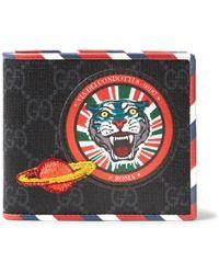 Gucci - Stripe-trimmed Appliquéd Monogrammed Canvas Billfold Wallet - Lyst