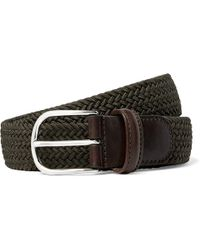 Andersons   3.5cm Green Leather-trimmed Woven Elastic Belt   Lyst