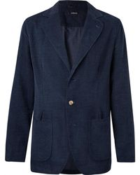 Lardini - Navy Unstructured Cotton-corduroy Blazer - Lyst