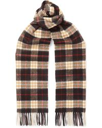 Burberry - Fringed Checked Cashmere Scarf - Lyst