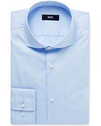 BOSS - Blue Jason Slim-fit Cutaway-collar Stretch Cotton-blend Shirt - Lyst