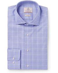 Hackett | Blue Mayfair Slim-fit Prince Of Wales Checked Cotton-poplin Shirt | Lyst