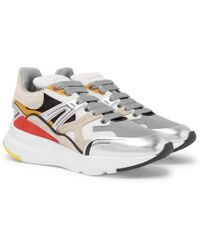 Alexander McQueen - Exaggerated-sole Leather, Suede And Mesh Trainers - Lyst