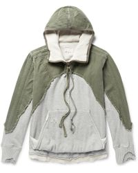Greg Lauren - Distressed Panelled Canvas And Loopback Cotton-jersey Hoodie - Lyst