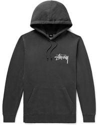 Stussy - Logo-print Fleece-back Cotton-blend Jersey Hoodie - Lyst