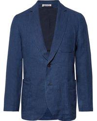 Blue Blue Japan - Slim-fit Unstructured Indigo-dyed Linen-twill Blazer - Lyst