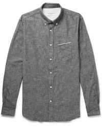 Officine Generale - Slim-fit Button-down Collar Selvedge Cotton-chambray Shirt - Lyst