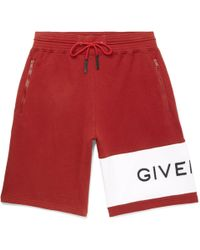 Givenchy - Wide-leg Logo-embroidered Fleece-back Cotton-jersey Drawstring Shorts - Lyst