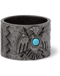 Valentino - - Embossed Burnished Silver-tone Ring - Silver - Lyst