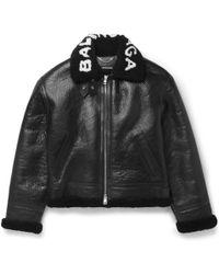 Balenciaga - Printed Shearling Bomber Jacket - Lyst
