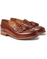 Grenson - Mackenzie Burnished-leather Tasselled Kiltie Loafers - Lyst