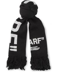 Off-White c/o Virgil Abloh - Fringed Intarsia-knit Scarf - Lyst