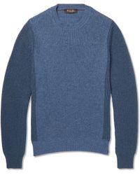 Loro Piana - Bi-colour Ribbed-knit Cashmere Jumper - Lyst