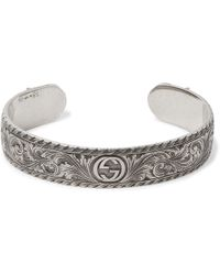 6d17682b3 Gucci San Valentino Sterling Silver And Bead Bracelet in Green for ...