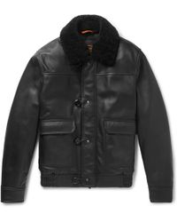 Tod's - Shearling-trimmed Leather Aviator Jacket - Lyst