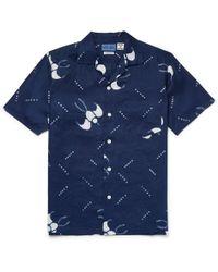 Blue Blue Japan - Slim-fit Camp-collar Printed Cotton-gauze Shirt - Lyst