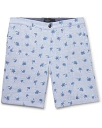 Club Monaco - Maddox Slim-fit Printed Cotton Shorts - Lyst