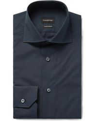 Ermenegildo Zegna - Midnight-blue Trofeo Slim-fit Cutaway-collar Cotton-poplin Shirt - Lyst
