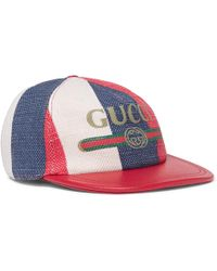 Gucci - Leather-trimmed Linen Baseball Cap - Lyst