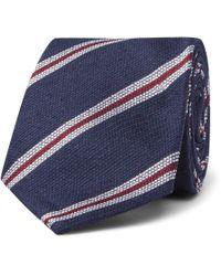 Kingsman - 8cm Striped Silk And Linen-blend Tie - Lyst