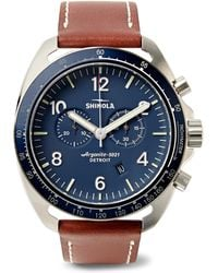 Shinola - The Rambler Tachymeter Chronograph 44mm Stainless Steel And Leather Watch - Lyst
