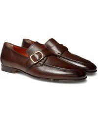 Santoni - Pebble-grain Leather Monk-strap Loafers - Lyst