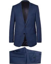 BOSS - Blue Novan/ben Slim-fit Mélange Super 120s Virgin Wool Suit - Lyst