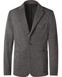 Barena Gray Unstructured Mélange Wool-blend Jersey Blazer