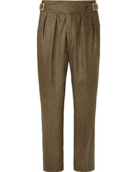 Rubinacci - Manny Tapered Pleated Mélange Stretch-wool And Cashmere-blend Trousers - Lyst