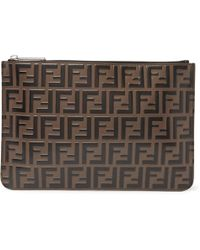 Fendi - Logo-embossed Leather Pouch - Lyst
