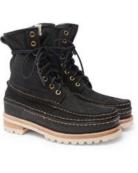 Visvim - Grizzly Panelled Suede, Twill And Rubber Boots - Lyst