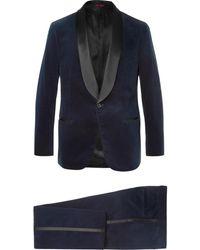 Brunello Cucinelli - Midnight-blue Satin-trimmed Cotton-velvet Tuxedo Jacket - Lyst