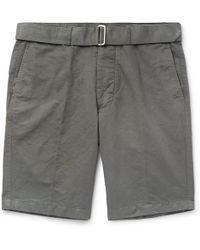 Officine Generale - Julian Slim-fit Slub Cotton And Linen-blend Shorts - Lyst