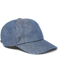 891cf43c RRL Pincheck Linen Newsboy Cap in Blue for Men - Lyst