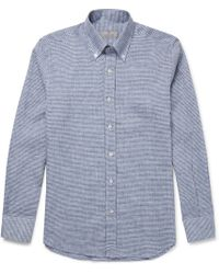 Canali - Button-down Collar Checked Linen And Cotton-blend Shirt - Lyst