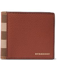 Burberry - Full-grain Leather And Checked Cotton-twill Billfold Wallet - Lyst