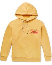 Aries - Logo-print Cotton-jersey Hoodie - Lyst