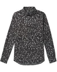 Club Monaco - Slim-fit Button-down Collar Camouflage-print Cotton-flannel Shirt - Lyst