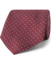 Hackett | 8cm Pin-dot Silk And Linen-blend Tie | Lyst