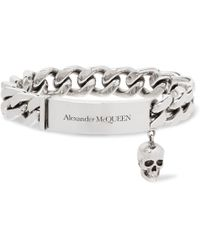 Alexander McQueen - Logo-engraved Silver-tone Id Bracelet - Lyst
