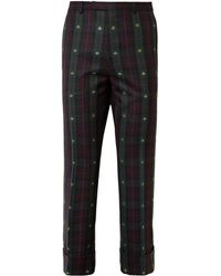 Gucci | Cropped Embroidered Checked Wool-twill Trousers | Lyst