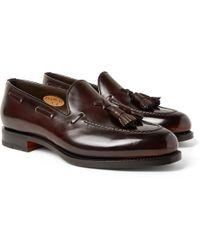 Santoni - Polished-leather Tasselled Loafers - Lyst