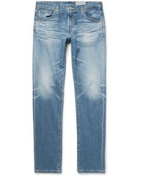 AG Jeans - Tellis Slim-fit Distressed Stretch-denim Jeans - Lyst