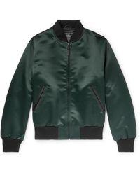 Golden Bear - Leather-trimmed Satin Bomber Jacket - Lyst