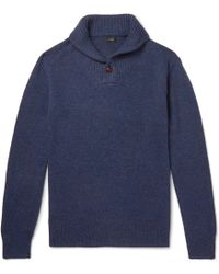 J.Crew - Shawl-collar Donegal Merino Wool-blend Jumper - Lyst