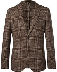 Officine Generale - Brown Prince Of Wales Checked Wool Blazer - Lyst