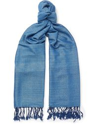 Il Bussetto - Fringed Indigo-dyed Cotton Scarf - Lyst